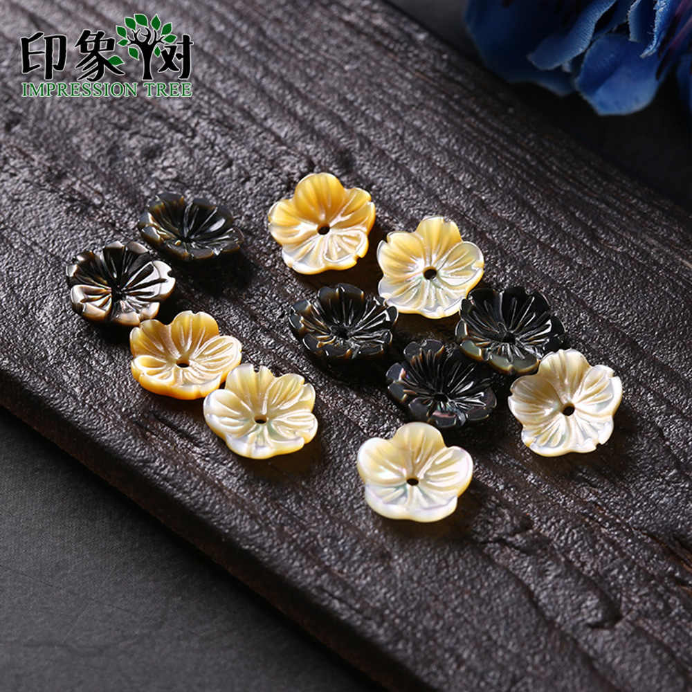 10pcs 10mm 3D Five-petal Flower Shell Beads Charms MOP Seashells Bead Caps Pendant For Necklace DIY Jewelry Making 19014