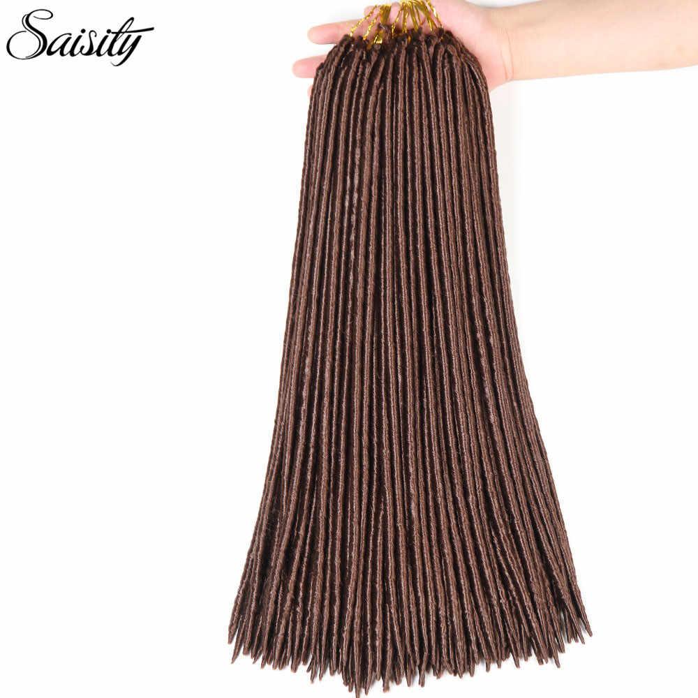 """Saisity faux locs extensiones de cabello de ganchillo trenzado cabello sintético crochet trenzas dreadlock africano twist 14 """"18"""" 24 hebras /paquete"""