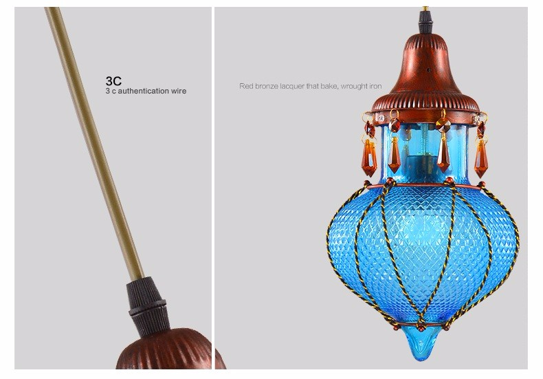 Bohemian Mediterranean Blue Crystal Ceiling Drop Light Pendant Lamp Lampshade Lighting Fixture for Room Restaurant Cafe Decor (26)