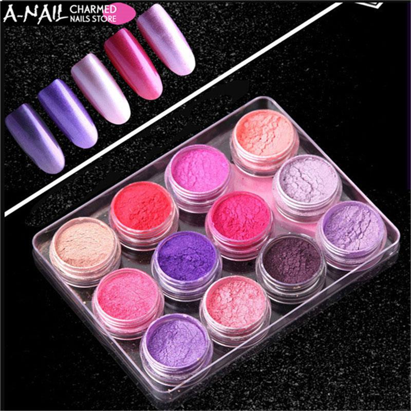 12jars/set 12colors mocha Gradient Nail Glitter Pigment Powders Pretty Shimmer Shell Powder Nail Powder Dust Decoration 04 nude mocha