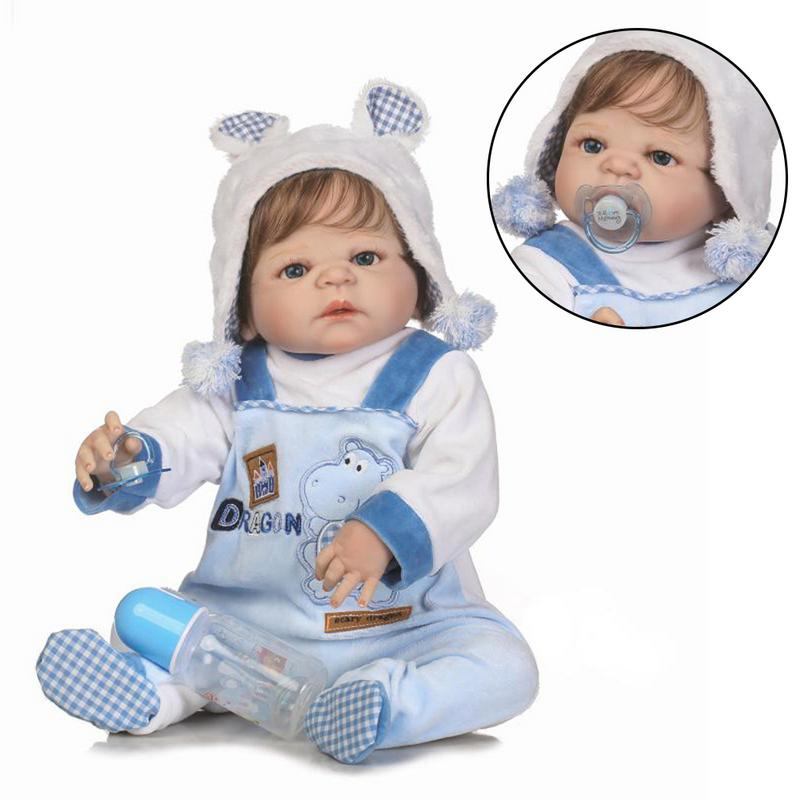 56 Cm Reborn Dolls Baby Simulation Doll Children Lifelike Toys Washable Full Silicone Toy Child Early Education Best Gifts new wooden montessori family version brown stair width 0 7 cm to 7 cm early childhood education preschool training baby gifts
