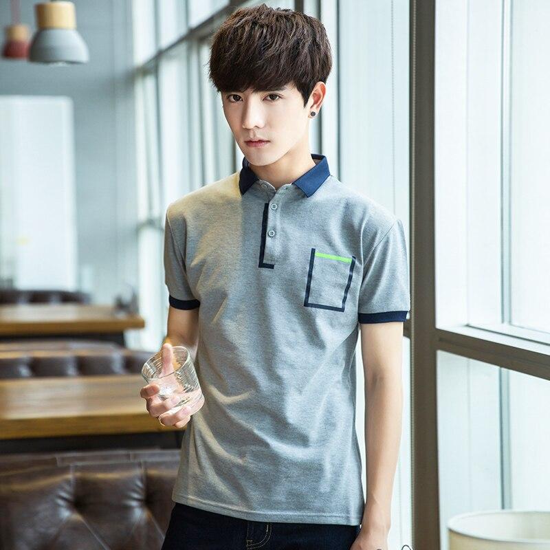 YASUGUOJI New 2019 Summer Korea Fashion Solid   Polo   Shirts Short Sleeve Men Cotton   Polo   Shirt Men Leisure   Polo   Manga Larga