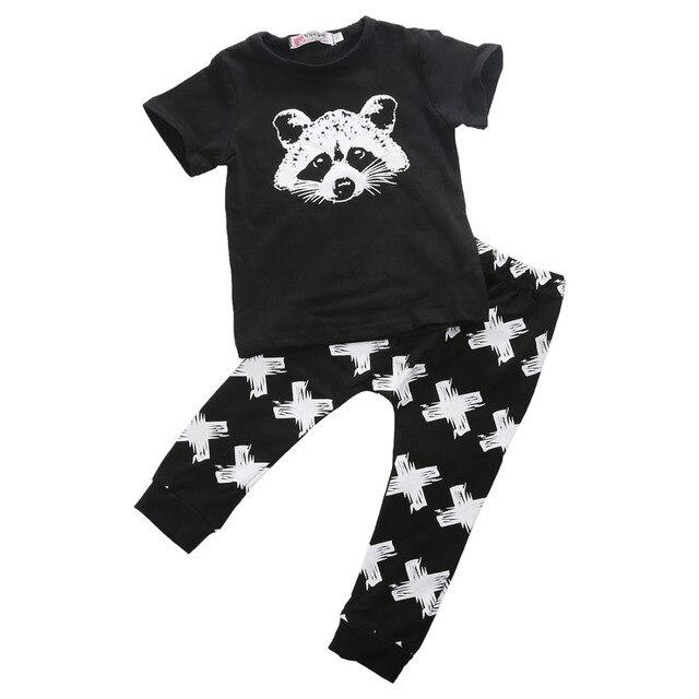 fe8bf1ccc New Arrival Raccoon Geometric Cute Baby Girls Boys Organic Fox Tops ...