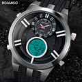 men sport watches dual display digital watch military quartz watch black rubber gift wristwatches 2017 BOAMIGO hot reloj hombre