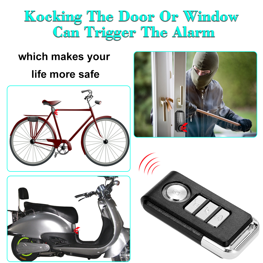 Latest Collection Of Wireless Bicycle Anti-theft Alarm Waterproof Door/ Window Vibration Alarm Intelligent Remote Control Alarm Sensor 113db Loud Security & Protection Security Alarm