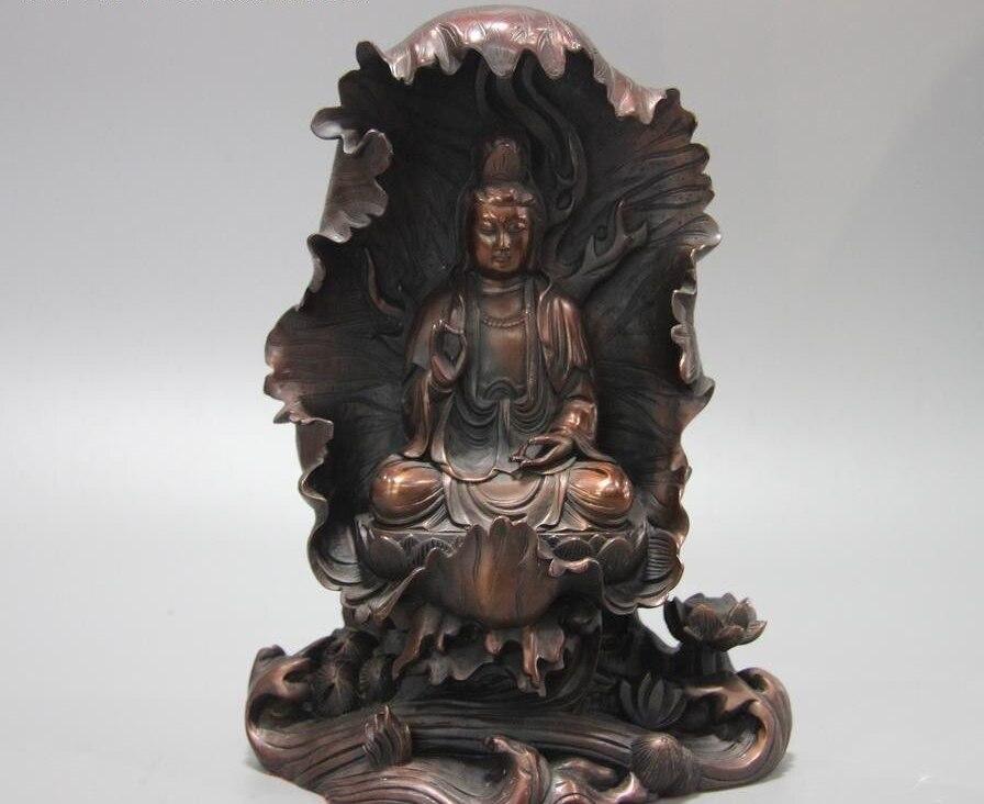 Bouddhisme chinois Bronze cuivre feuille de Lotus kwan-yin Guanyin Bodhisattva StatueBouddhisme chinois Bronze cuivre feuille de Lotus kwan-yin Guanyin Bodhisattva Statue