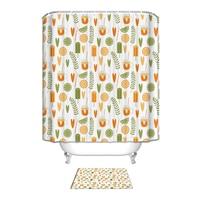 Bathroom Shower Curtain Set with & Door Mat Carpet Orange Fruit 3D Print Polyester Shower Curtain Set for Bathroom Carpet Decor