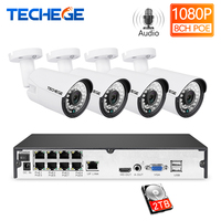 Techege 8ch 1080 p poe nvr 키트 2mp 3000tvl poe ip 카메라 p2p 오디오 cctv 시스템 ir 야외 야간 투시경 비디오 감시 키트