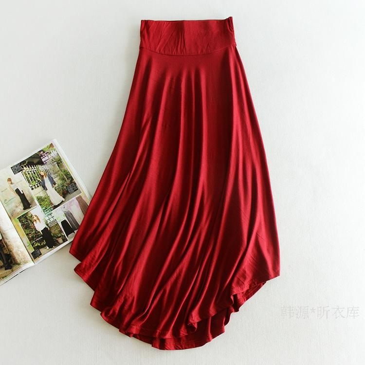 High Waist Skirt women Elegant Wine Red Black Solid Color befree Long Skirts Womens Faldas Saia Jupe Asymmetry pleated skirt