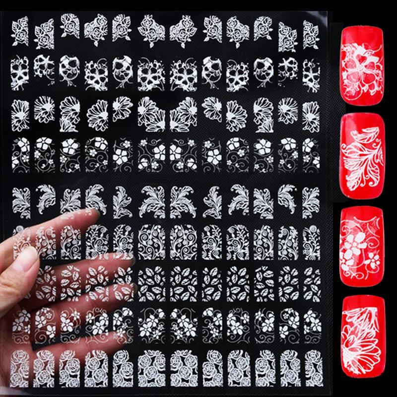 Diseño de flores de la mezcla 3d Nail Art Stickers, 108 unids / set Adhesivo metálico blanco UV Gel esmalte de uñas consejos calcomanías, DIY decoraciones de uñas