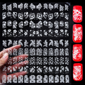 3d Mix Flowers Design Nail Art Stickers,108pcs/set  White Adhesive Metallic UV Gel Polish Nail Tips Decals,DIY Nail Decorations