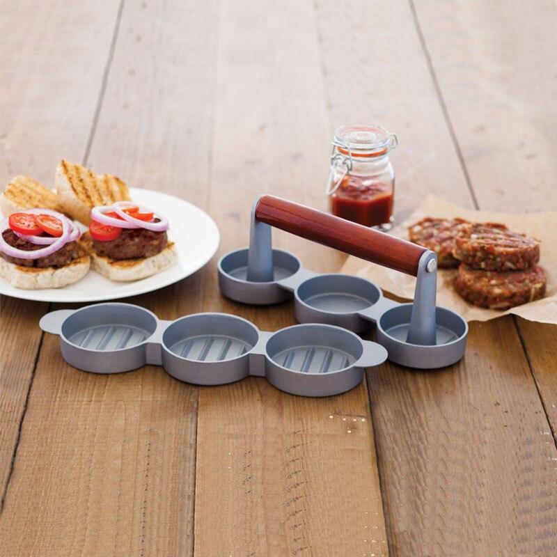 New Mini Hamburger Presses Nonstick 3 Slot Mini Burger Press Triple Beef Burger Maker Mould Metal Cooking Tool Black Handle
