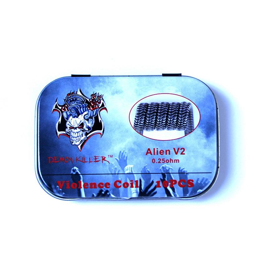 Demon Killer DIY Clapton Alien V2 Prebuilt Coil Violence Coil Fit VAPE MOD RDA RDTA Atomizer Vaporizer Tank With T-shaped Screw