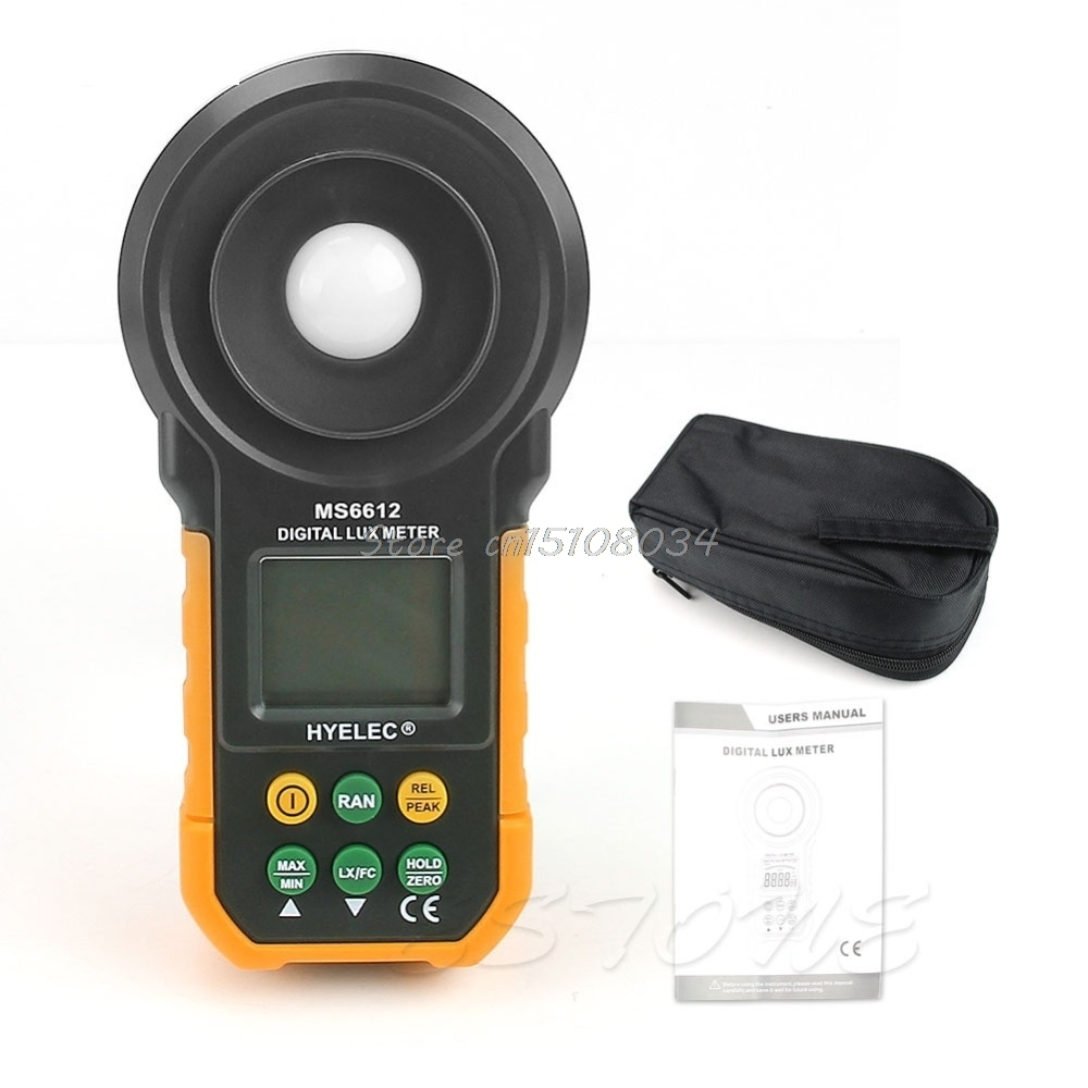 HYELEC MS6612 Digital Light Meter Lux Meter Luminometer Photometer Multifunction #S018Y# High Quality 100% original as813 lux meter digital light meter lumen meter photometer 1 100 000lux