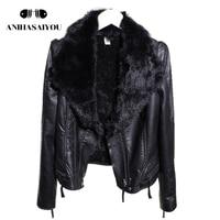 Faux leather jackets women short winter new Korean version of the rabbit real fur collar short plus velvet faux leather jackets