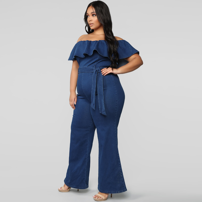 Denim Rompers Women Jean Jumpsuit 2019 Summer Sexy Slash Neck Off Shoulder Ruffles Playsuits Plus Size Wide Leg Pants Overalls in Jumpsuits from Women 39 s Clothing