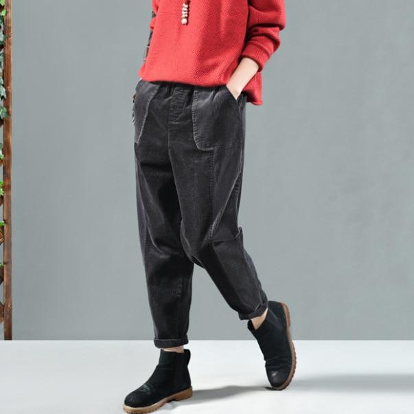 YoYiKamomo Women Casual Harem Corduroy Pants Autumn Winter Contrast Color Pants Pockets Female Casual Loose Women Trousers