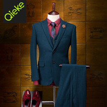 2017Brand Clothing 95%Wool men formal wedding suits Dark Green men tuxedo men dress suits prom coat/vest/pant slim fit men suits