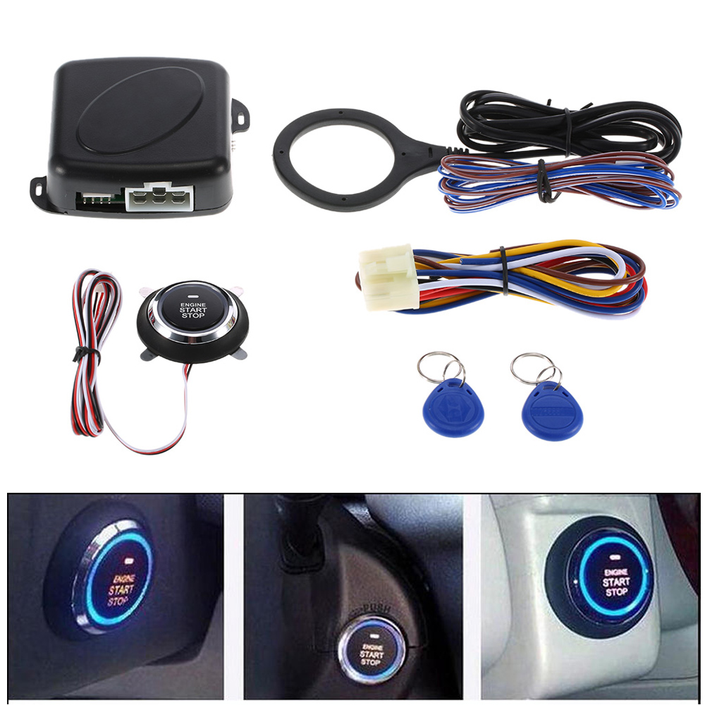Auto Car Alarm Push Button Start Stop Engine Starline RFID Lock Ignition Switch Keyless Entry System Starter Anti-theft System
