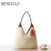 MENGXILI Japen&Korean Braided Straw Bags Handbags Women Famous Brands Flowers Lady Hobos Holiday Beach Women Bags Shoulder Bag