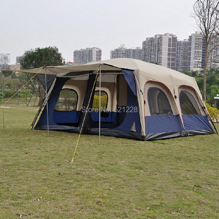Aliexpress.com  Buy Alltel super large anti rain 6 12 persons outdoor c&ing family cabin waterproof fishing beach tent 2 bedroom 1 living room from ... : big cheap tents - memphite.com
