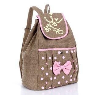 201 New design leisure canvas backpacks girls backpack polka dot ...