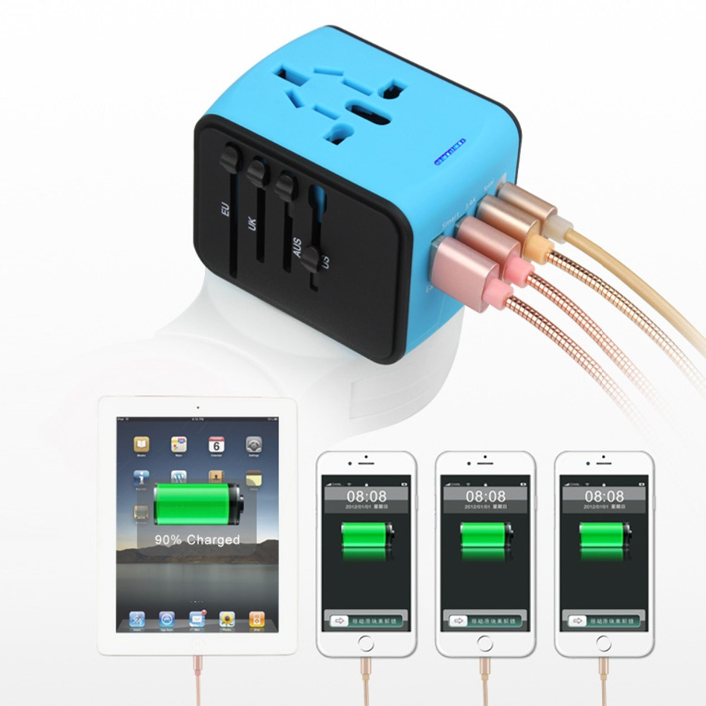 SOONHUA Universal Adapter 5V 2.4A 4 USB Charger Smart IC Chip Safety Shutters Fuse With LED Power Indicator For Phone Tablet PC