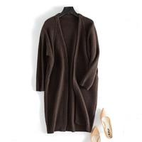 100% шерсть яка плотного тяжелого трикотажа женщин на осень зиму модные длинные свитер; кардиган; пальто карамель 2 вида цветов M/L