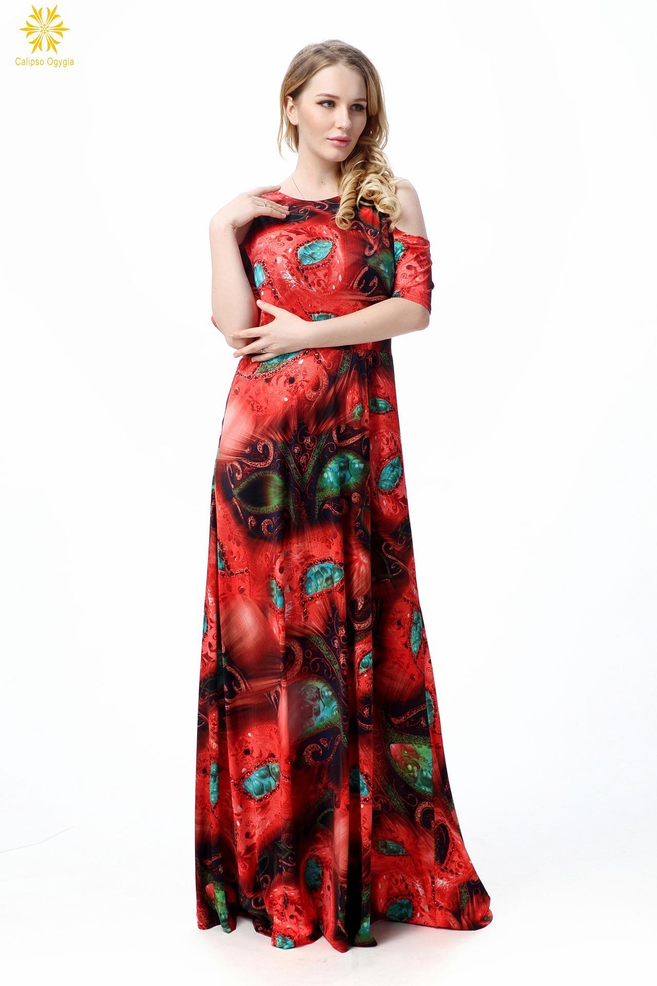 Elegante Frauen Maxi Kleid XL 7XL Sommer Bodenlangen Fashion Drucken ...