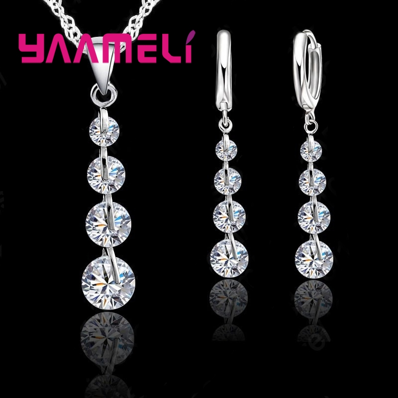 Yaameli Exquisite Real 925 Sterling Silver Bridal Jewelry Sets Long Style Austrian Crystal Necklaces Earrings Wedding Accessory