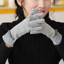 thickening gloves women winter touch screen new cashmere warm gloves Lace trendy pure color