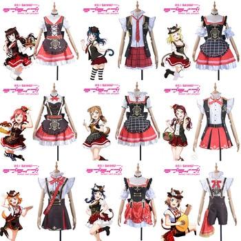 Anime Lovelive Sunshine!!Aqours Ruby Dia Kunan Mari Riko Cosplay Costume All Members The Music of Bremen Uniform Dress Halloween