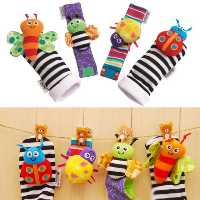 T0541 Baby Early Development rattle toys Baby Plush toys Wrist Rattles Foot Socks Early Educational Toy 4pcs/set