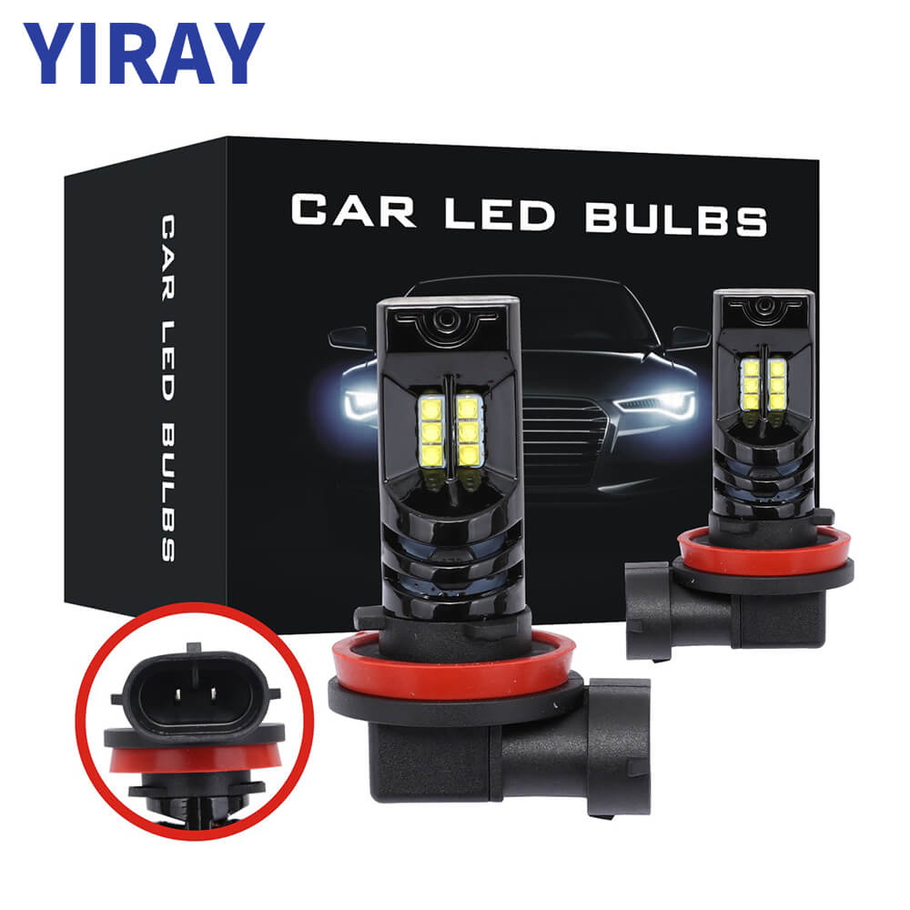 YIRAY 2PCS H11 H8 LED 9005 HB3 9006 HB4 <font><b>H7</b></font> White Car Fog Lamp Daytime Running Lights LED Bulbs 48W <font><b>2000LM</b></font> 6500k 12V Driving Lamp image