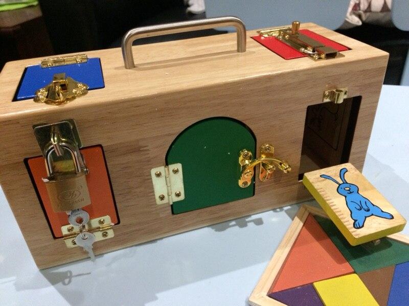 Bébé Jouet jouets montessori Serrure Boîte de La Petite Enfance L'éducation Préscolaire Formation Enfants Jouets Pour Enfants Brinquedos
