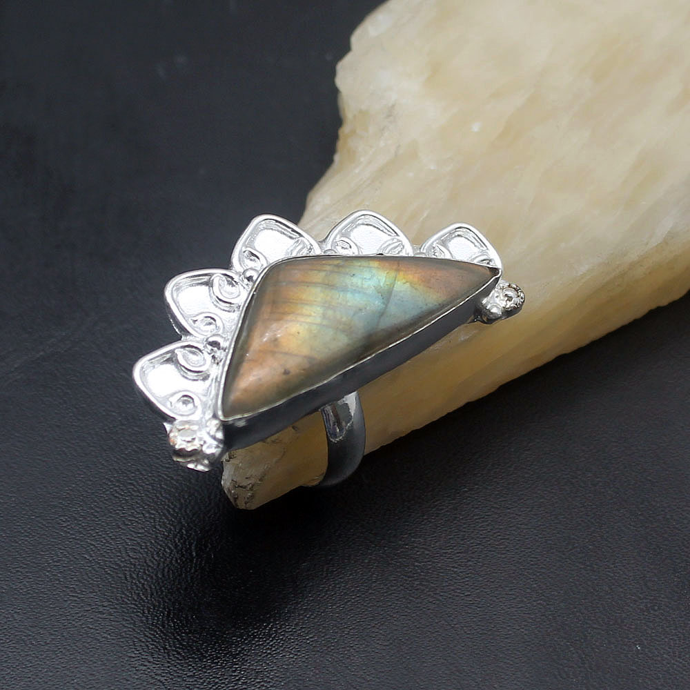 Special Hot Sale Black Labradorite Trendy Jewelry 925 Sterling Silver Mens Ring Size 8.5 NY1236 Free Shipping