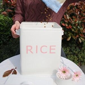 Image 2 - Boîte de rangement pour cuisine salle de bain, conteneur de riz, Grain 10l revêtement métal Zinc boîtes de rangement de poudre à pain avec cuillère