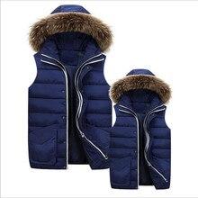 2015 winter new men vest jacket coat tops pockets fashion women vest hooded thicke fur collar waistcoat outwear plus size M-3XL