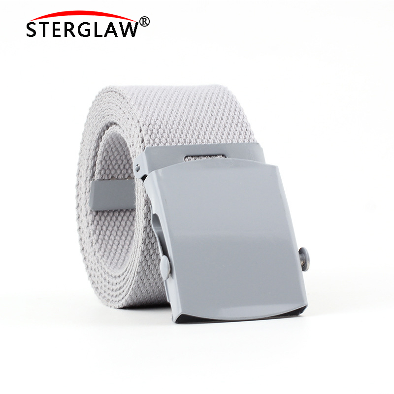 New 125cm Automatic buckle   belt   for Men's jeans 2019 all-match woman's canvas   belt   lovers brief solid color long   belt   woman N222