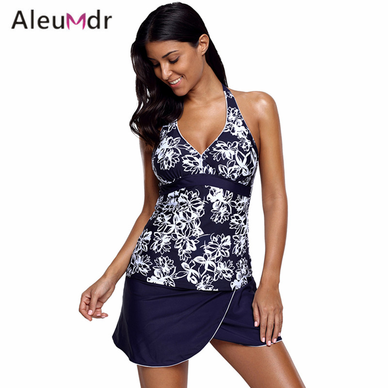Aleumdr 2018 Plus Size Swimwear Women Two Piece Spots Print V-neck Tankini And Skirt Swimsuit LC410317 Banadores De Mujer flounce flowers print two piece swimsuit