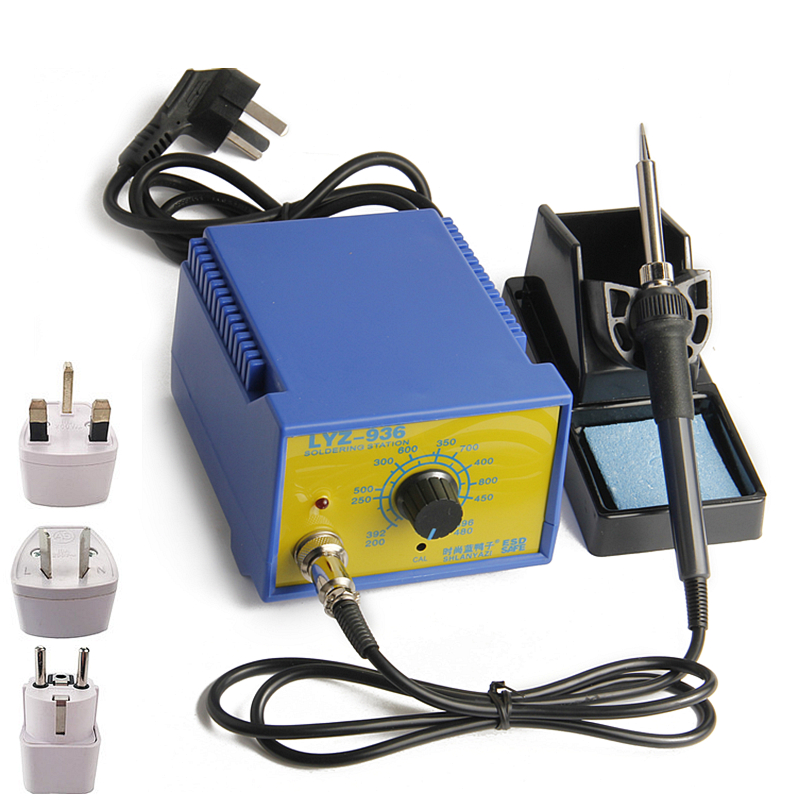 50W Adjustable Thermostat Soldering Station Anti-static Electric Soldering Iron With Solder Flux Wire Tweezers Welding Tools 936 soldering station saike anti static adjustable thermostat soldering iron 110v 220v electric iron soldering welding station