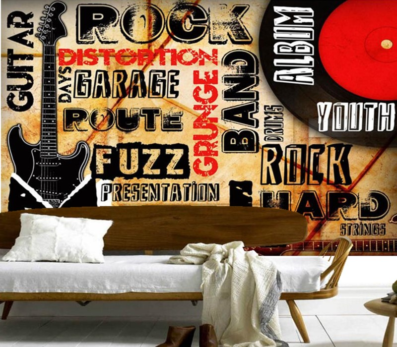 Custom 3D murals,Cool Vintage guitar club bar KTV background wall papel de parede, living room sofa TV wall bedroom wallpaper custom papel de parede red black tree abstract modern wallpaper living room sofa tv wall bedroom 3d wall murals wallpaper