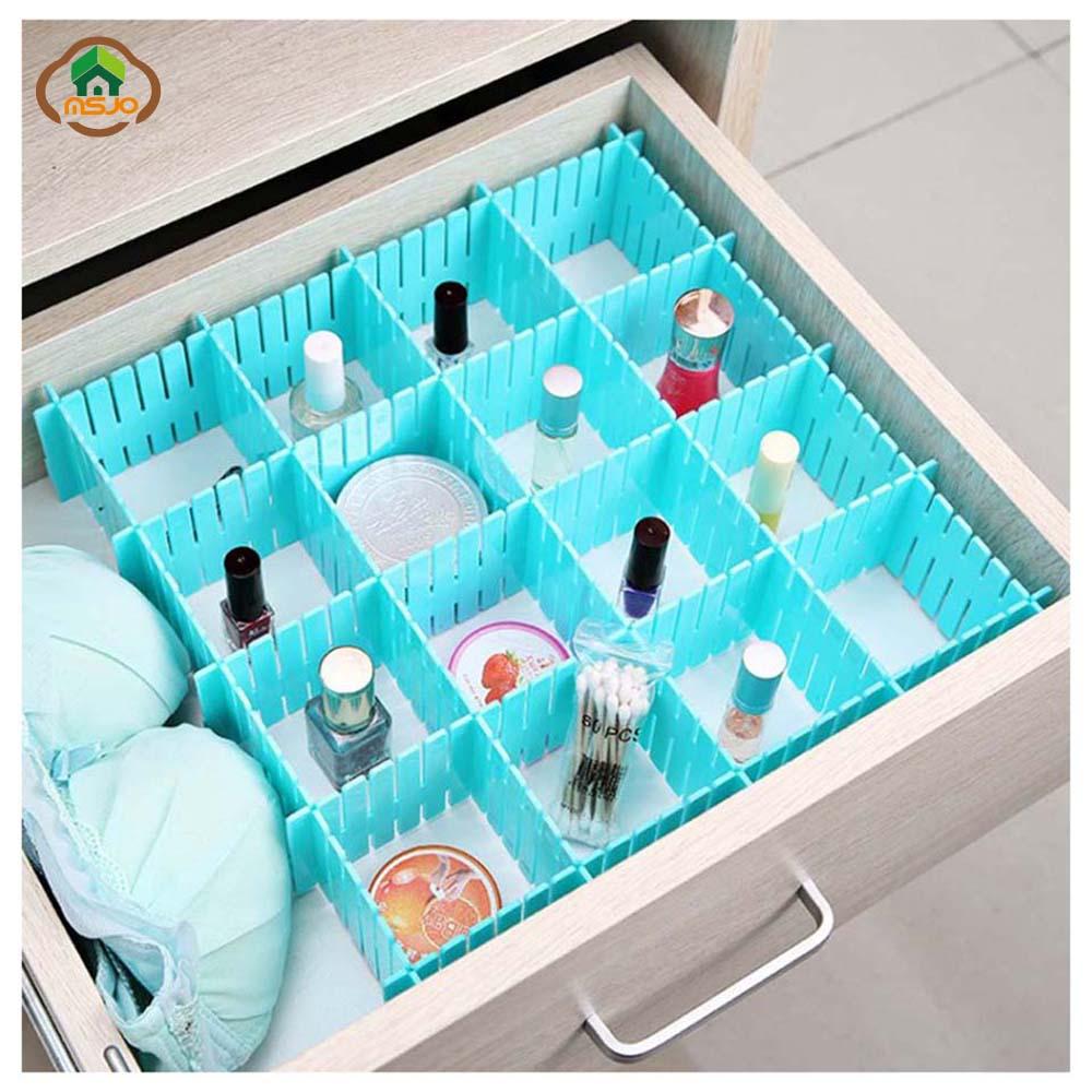 Adjustable:  Msjo Storage Drawer Organizer 4 Pcs/Set Plastic Home Closet Underwear Bra Jewelry Sundries Adjustable Drawer Board Storage Box - Martin's & Co