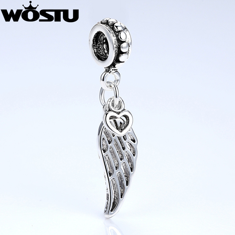 <font><b>Aliexpress</b></font> Hot Sale Angel Wing & Heart Silver Charm Beads Fit Original wst Bracelet Bangle For Women DIY Jewelry image