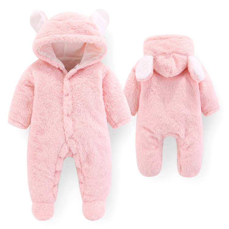 Baby Girls Clothes Newborn Winter Hoodie Baby Rompers Polyester Baby Boy Romper Climbing Outwear Infant Baby Jumpsuit 3M -12M | Happy Baby Mama