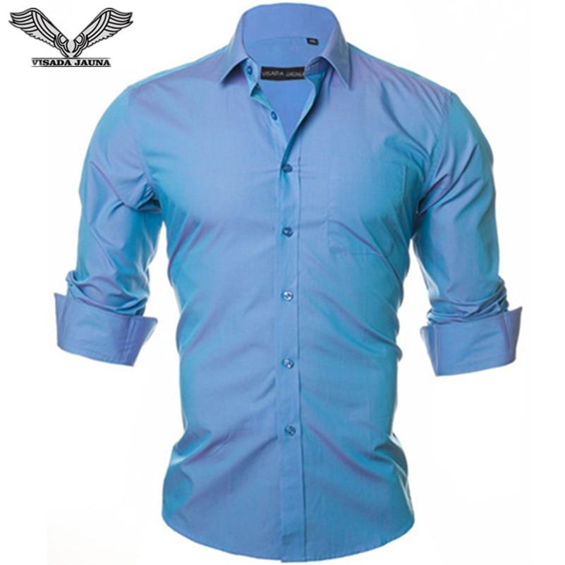 VISADA JAUNA Men Shirts 2017 New Solid Color Business Dress Shirt Casual Brand Clothing Camisa Social Macsulina Mens Shirts N350