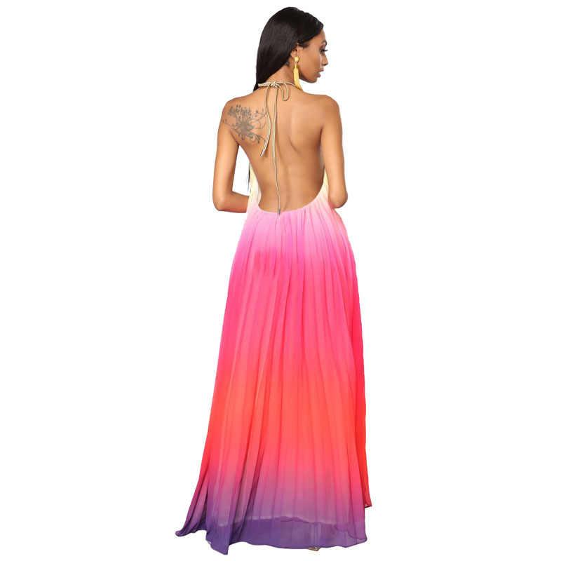 UIZVTIK летнее платье женское 2019 сексуальное обтягивающее платье с открытой спиной бальное платье Длинные вечерние платья женские повседневные шифоновые Бохо пляжный длинный платья