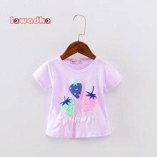 Новинка; спортивная футболка для маленьких девочек и мальчиков; футболка с короткими рукавами и рисунком клубники; летняя хлопковая детская одежда для девочек