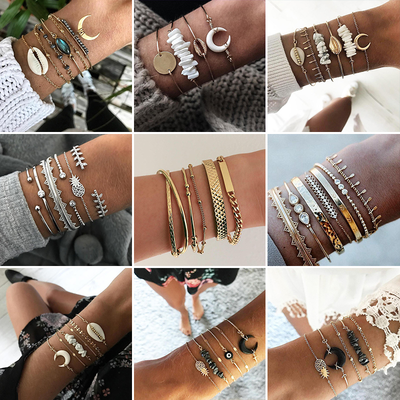 21 Styles Classic Arrow Knot Round Crystal Gem Multilayer Adjustable Open Bracelet Set Women Fashion Party Jewelry Gift