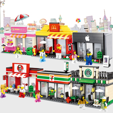 City Mini Street Scene Retail Store Miniature Building Block Brick Educational Toy for kid compatible with legolying Lepinly